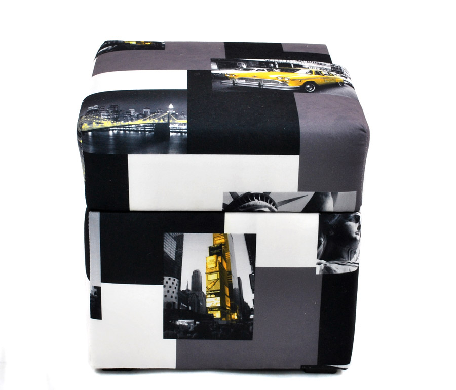 pouf cube coffre de rangement new york 40x40cm repose pieds moderne fortisline. Black Bedroom Furniture Sets. Home Design Ideas